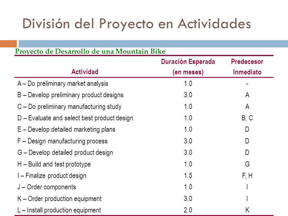 División del Proyecto en Actividades