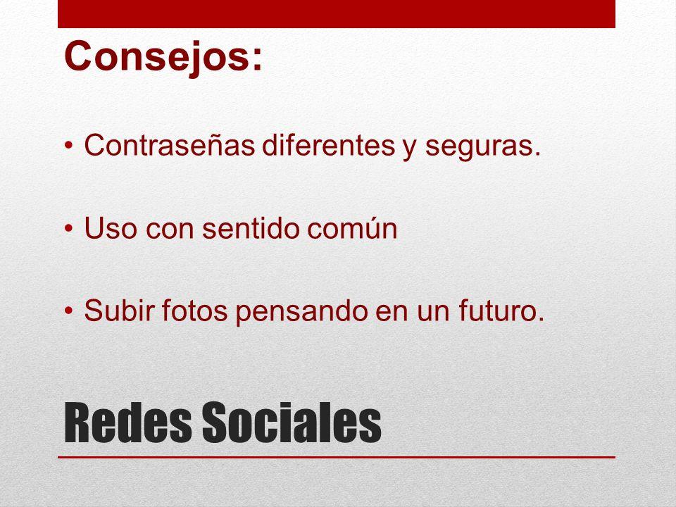 Redes Sociales Consejos: Contraseñas diferentes y seguras.