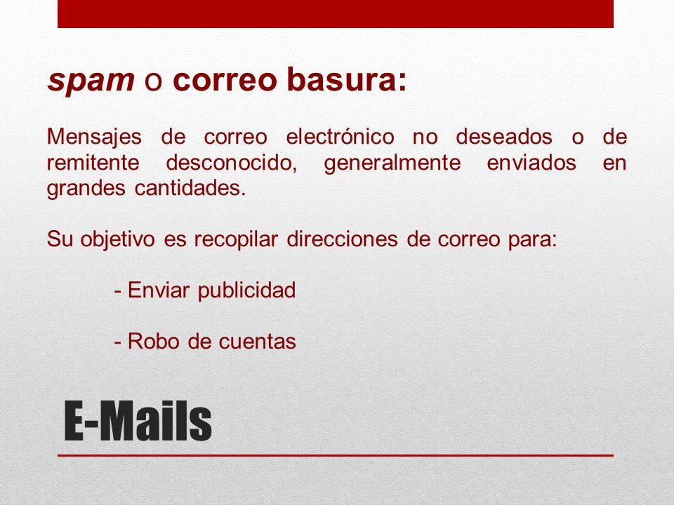 E-Mails spam o correo basura: