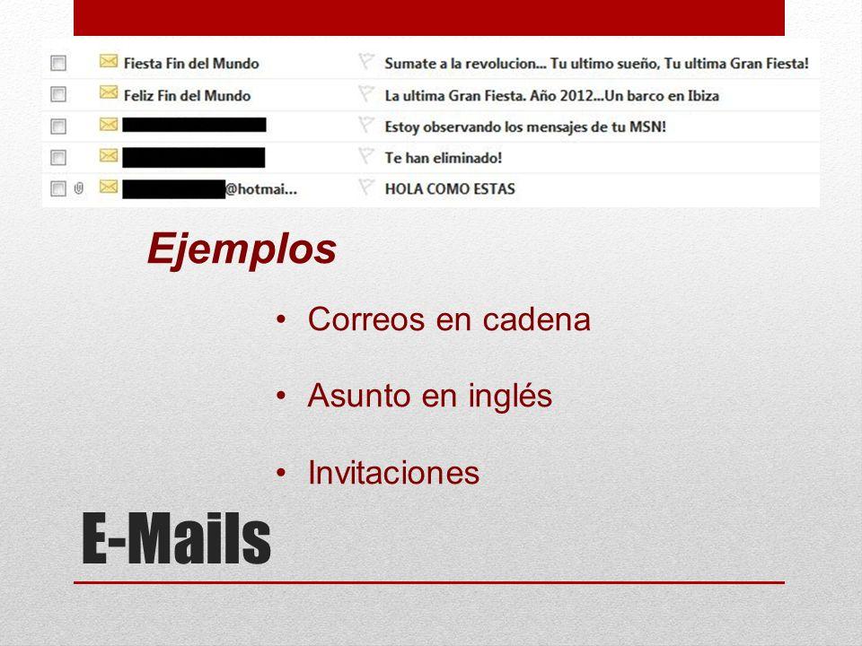 Ejemplos Correos en cadena Asunto en inglés Invitaciones E-Mails