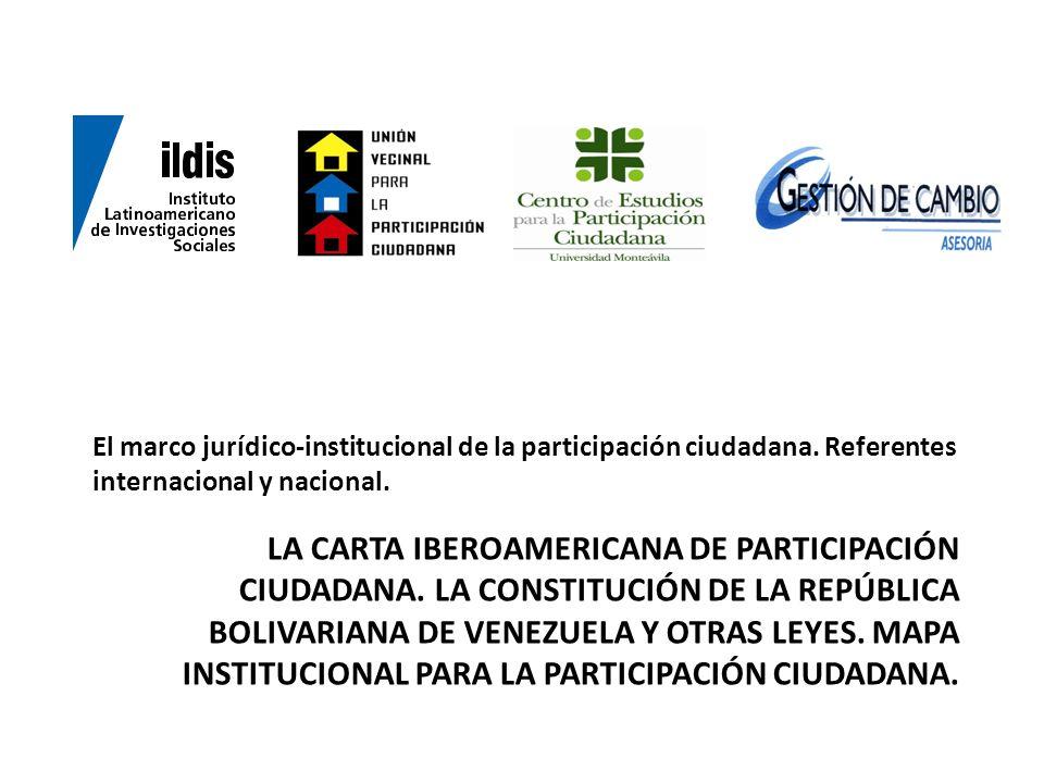 El marco jurídico-institucional de la participación ciudadana