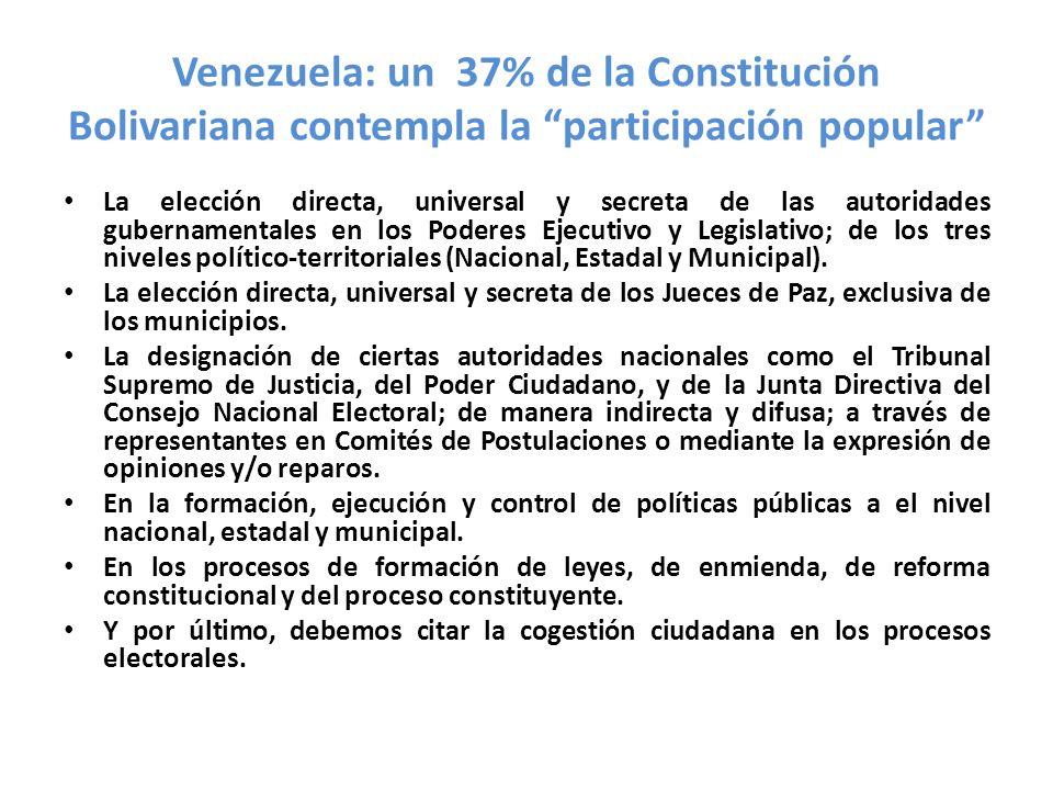 Venezuela: un 37% de la Constitución Bolivariana contempla la participación popular