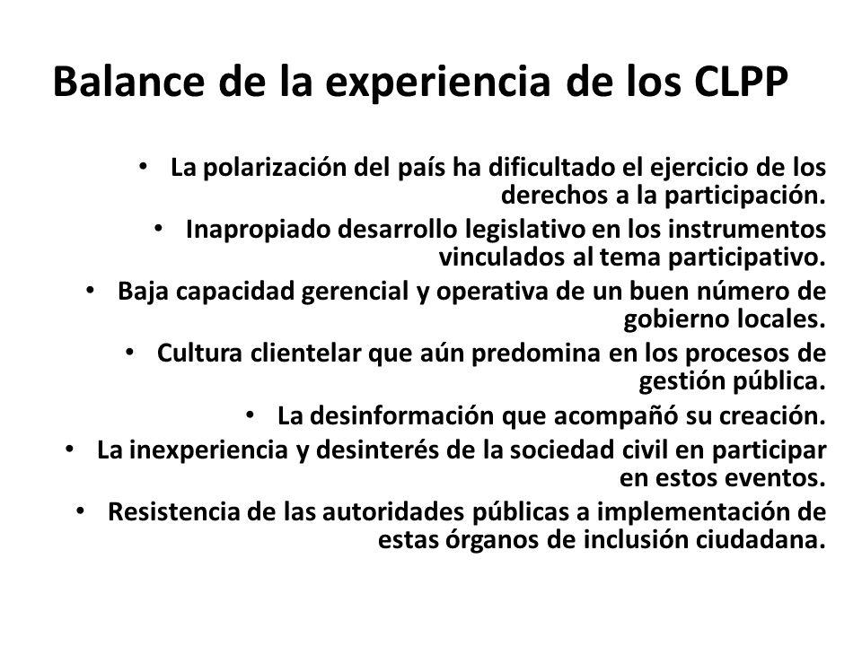Balance de la experiencia de los CLPP