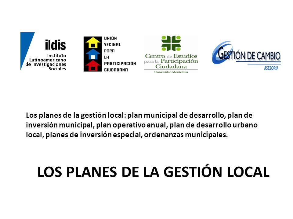 Los planes de la gestión local
