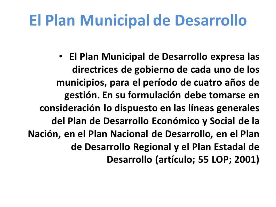 El Plan Municipal de Desarrollo