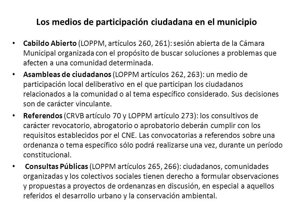 Los medios de participación ciudadana en el municipio