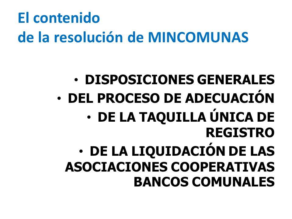 El contenido de la resolución de MINCOMUNAS