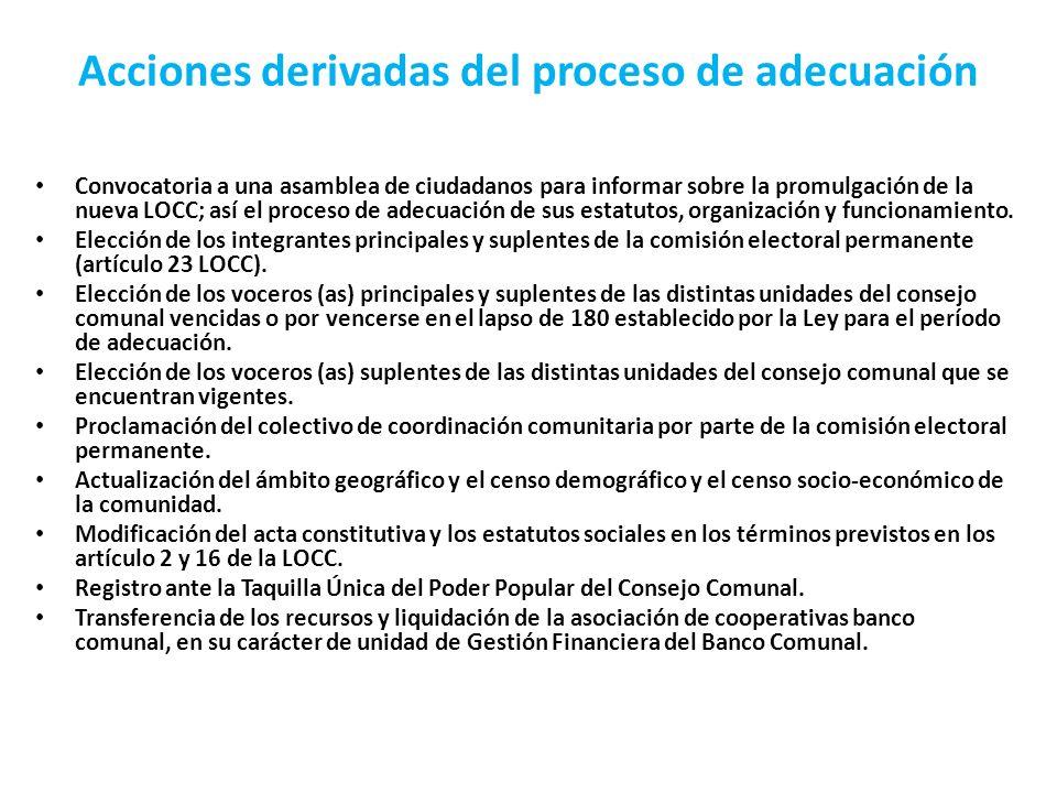 Acciones derivadas del proceso de adecuación