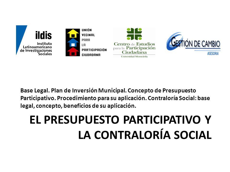 El presupuesto participativo y la contraloría social
