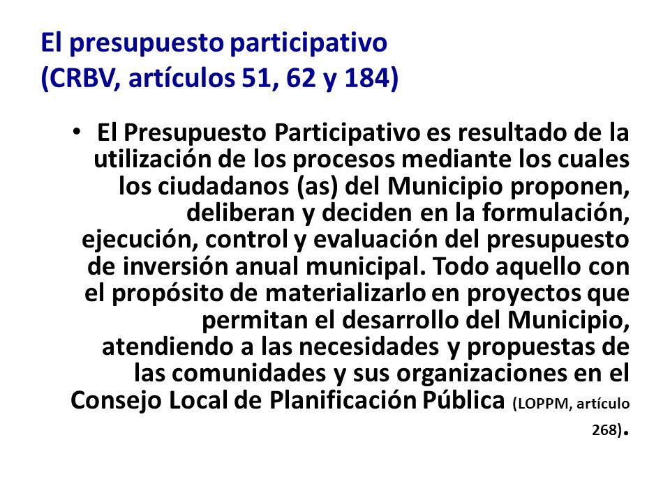 El presupuesto participativo (CRBV, artículos 51, 62 y 184)