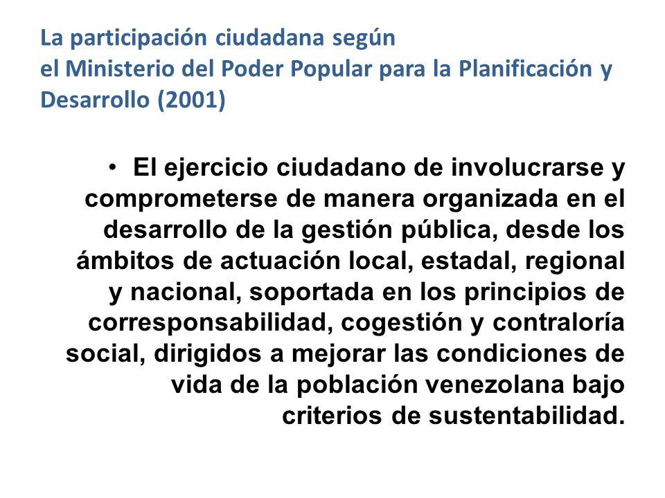 La participación ciudadana según el Ministerio del Poder Popular para la Planificación y Desarrollo (2001)