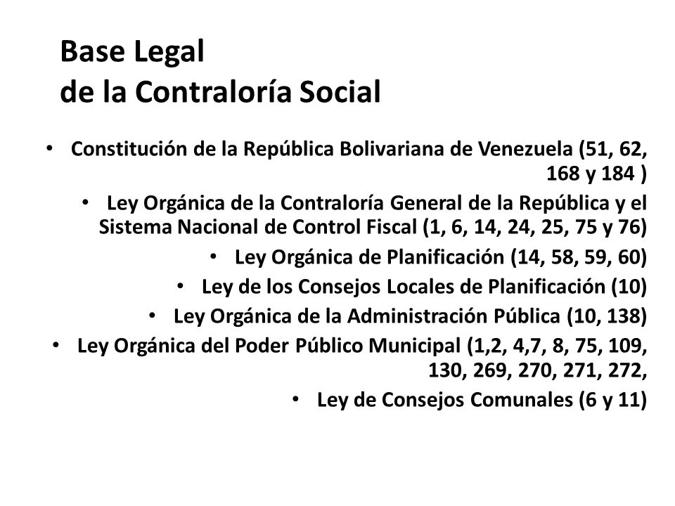 Base Legal de la Contraloría Social
