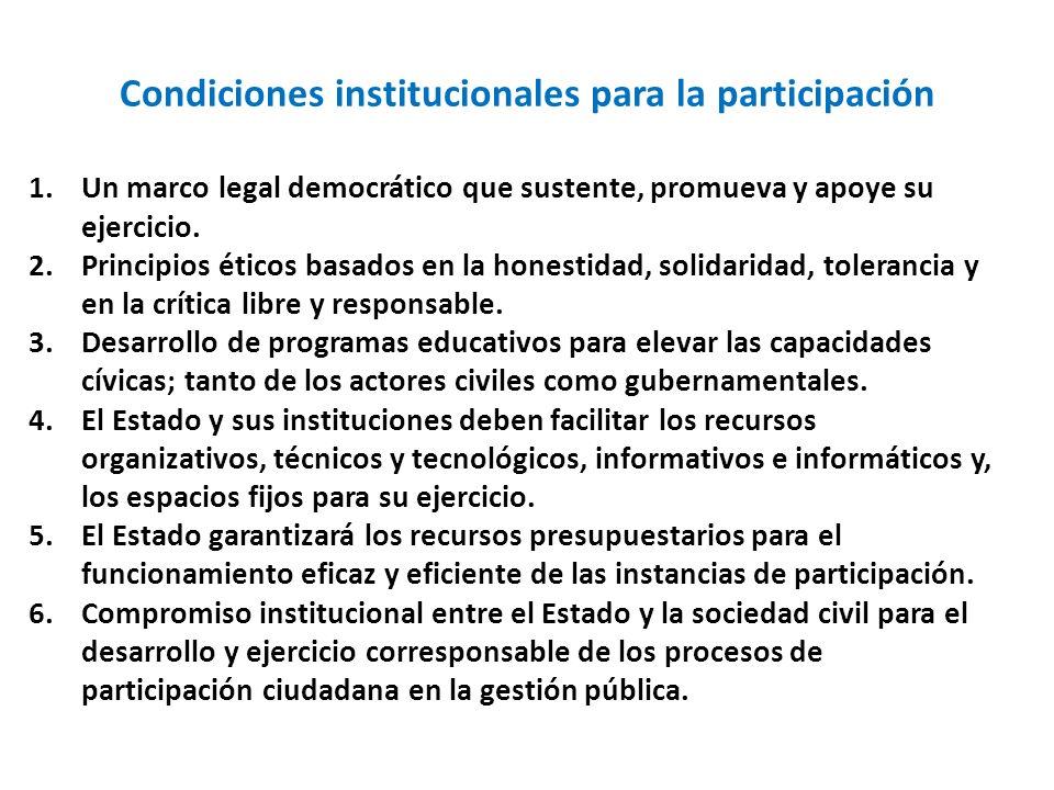 Condiciones institucionales para la participación