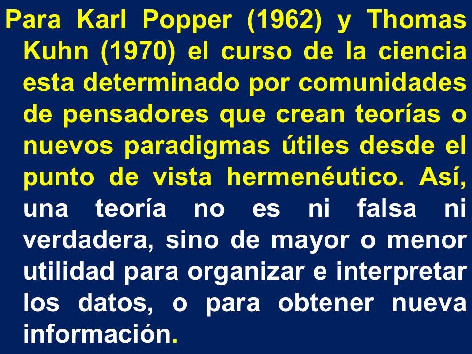 Para Karl Popper (1962) y Thomas Kuhn (1970) el curso de la ciencia esta determinado por comunidades de pensadores que crean teorías o nuevos paradigmas útiles desde el punto de vista hermenéutico.