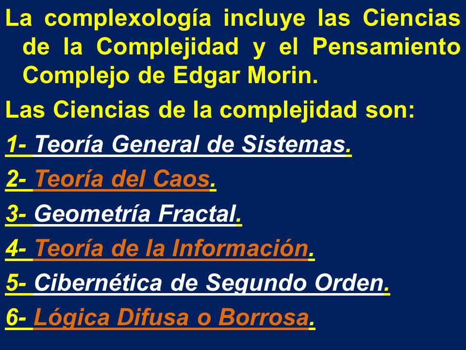 La complexología incluye las Ciencias de la Complejidad y el Pensamiento Complejo de Edgar Morin.