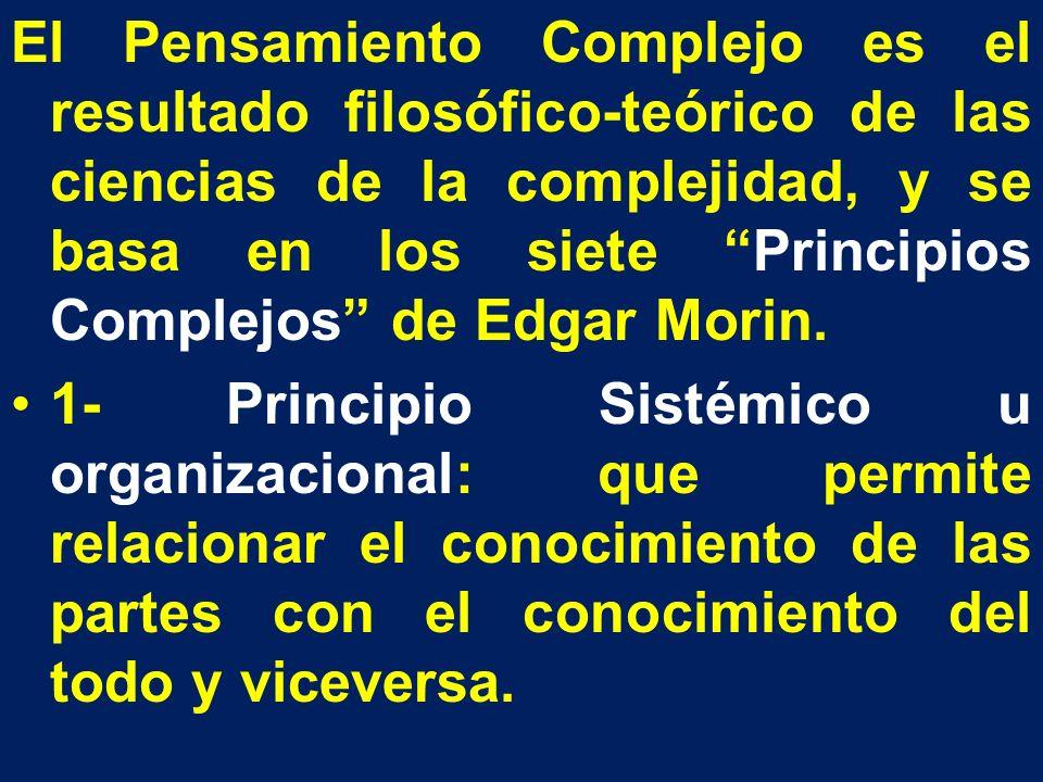 El Pensamiento Complejo es el resultado filosófico-teórico de las ciencias de la complejidad, y se basa en los siete Principios Complejos de Edgar Morin.