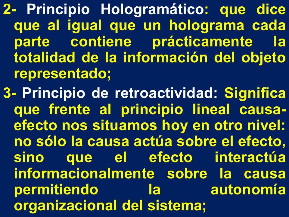 2- Principio Hologramático: que dice que al igual que un holograma cada parte contiene prácticamente la totalidad de la información del objeto representado; 3- Principio de retroactividad: Significa que frente al principio lineal causa-efecto nos situamos hoy en otro nivel: no sólo la causa actúa sobre el efecto, sino que el efecto interactúa informacionalmente sobre la causa permitiendo la autonomía organizacional del sistema;