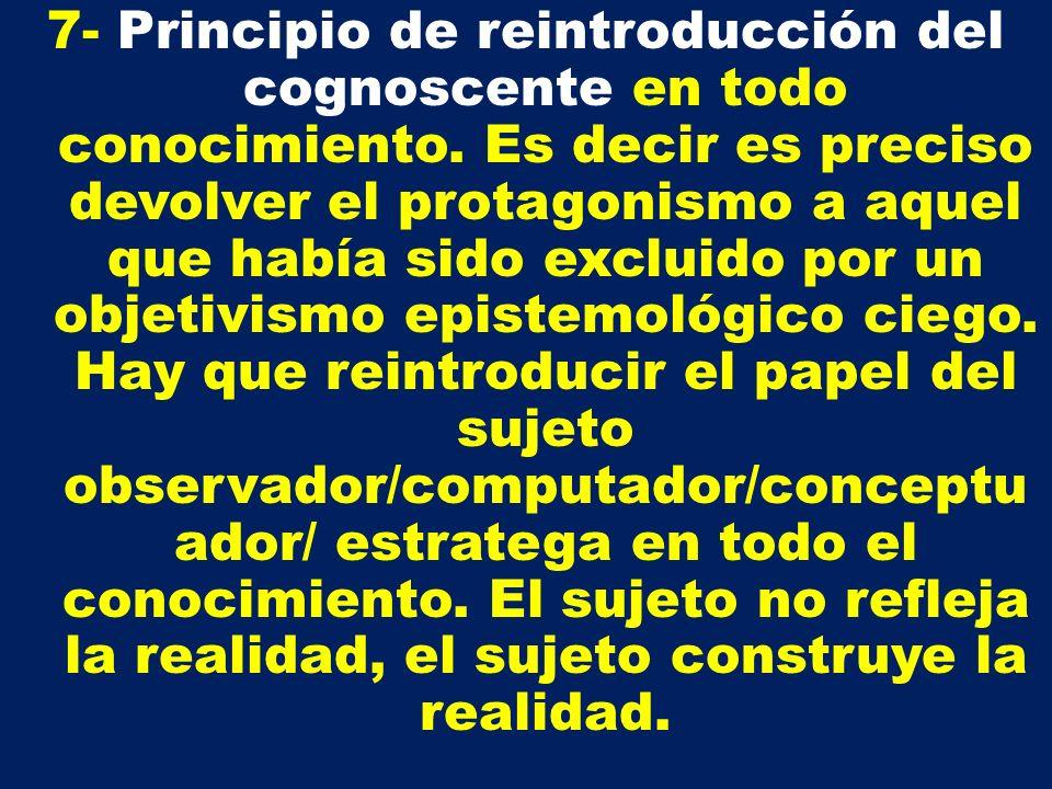 7- Principio de reintroducción del cognoscente en todo conocimiento