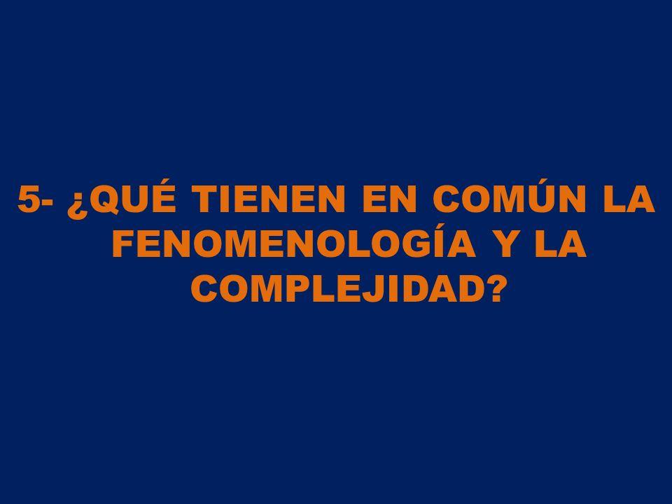 5- ¿QUÉ TIENEN EN COMÚN LA FENOMENOLOGÍA Y LA COMPLEJIDAD
