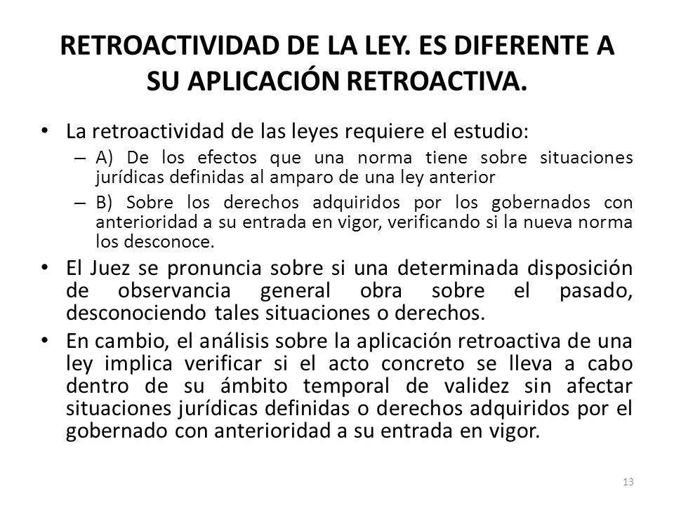 RETROACTIVIDAD DE LA LEY. ES DIFERENTE A SU APLICACIÓN RETROACTIVA.