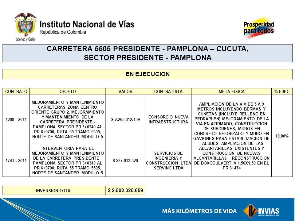 CARRETERA 5505 PRESIDENTE - PAMPLONA – CUCUTA, SECTOR PRESIDENTE - PAMPLONA