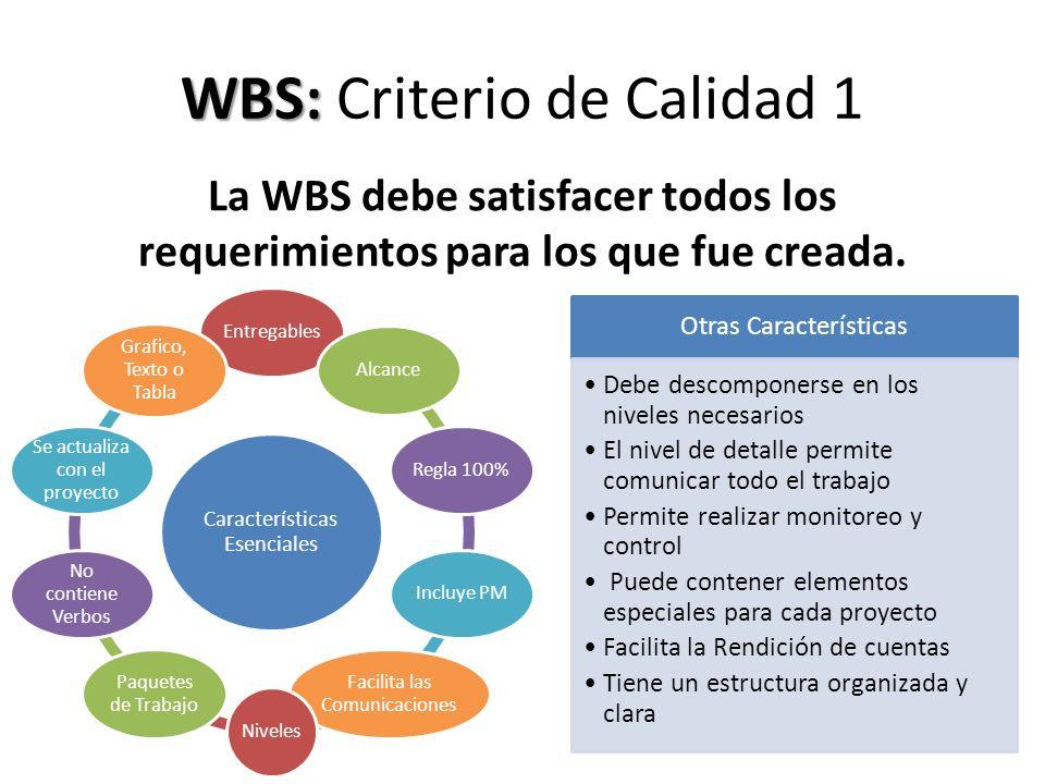 WBS: Criterio de Calidad 1