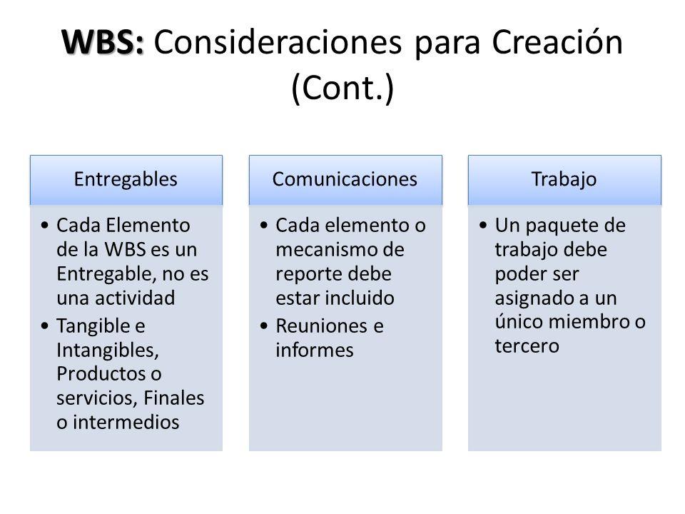 WBS: Consideraciones para Creación (Cont.)