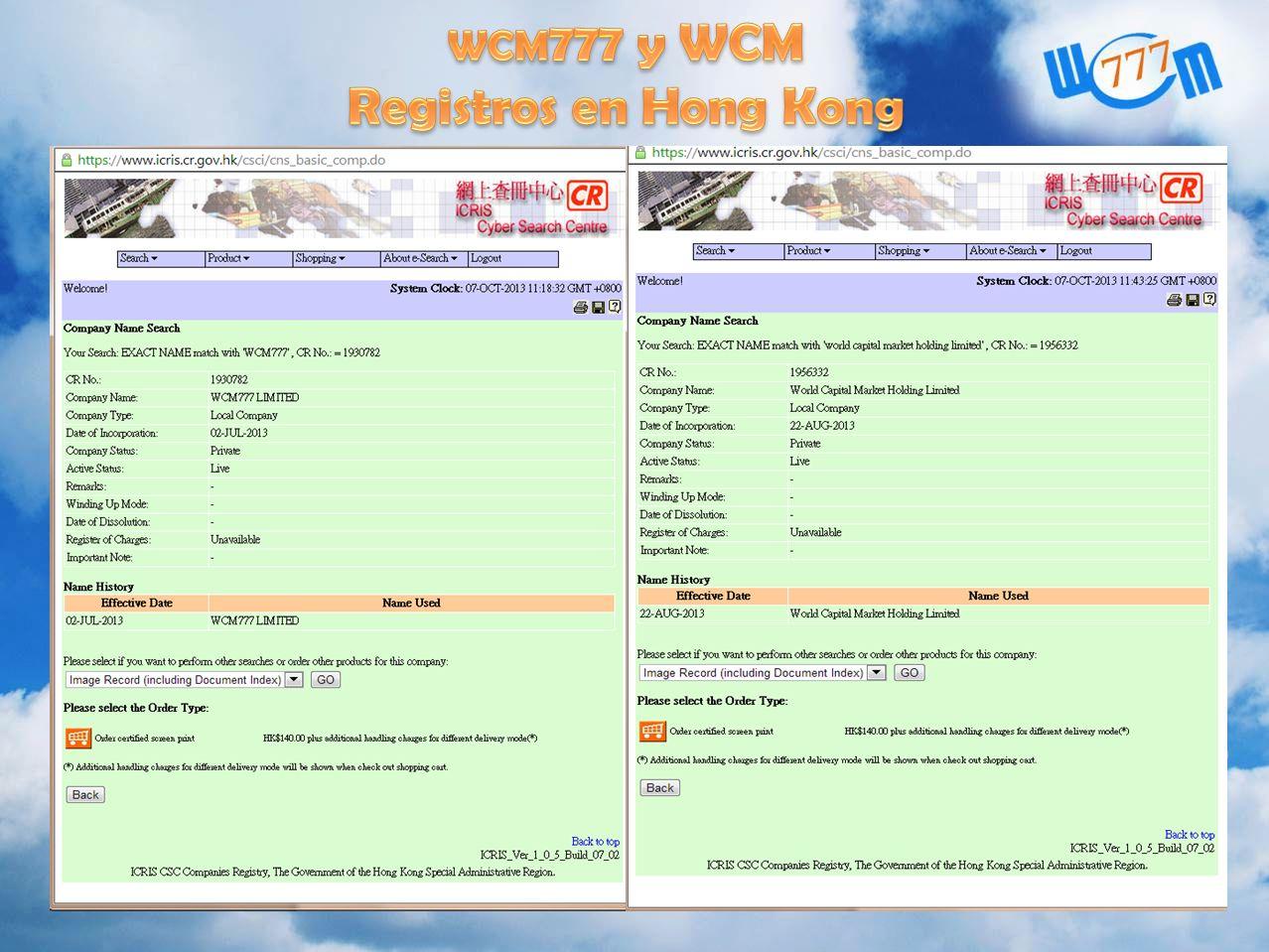 wcm777 y WCM Registros en Hong Kong