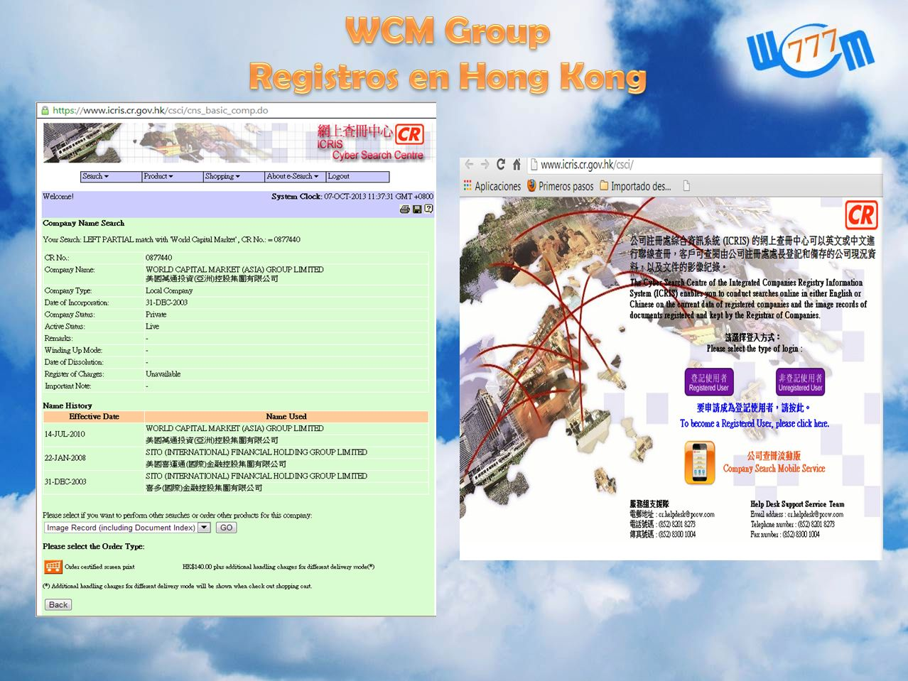 WCM Group Registros en Hong Kong