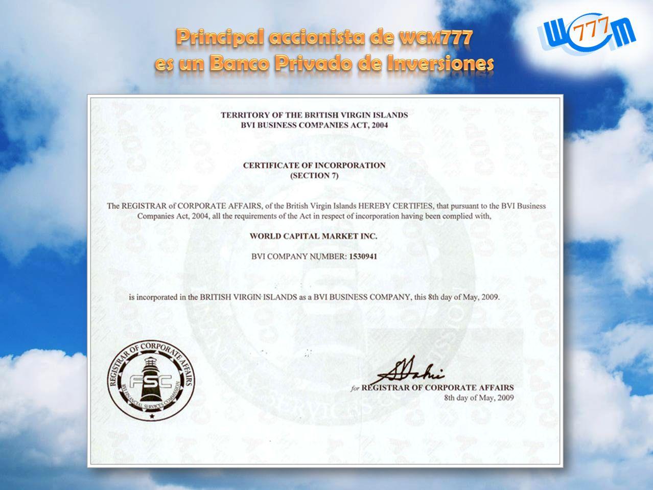Principal accionista de wcm777 es un Banco Privado de Inversiones