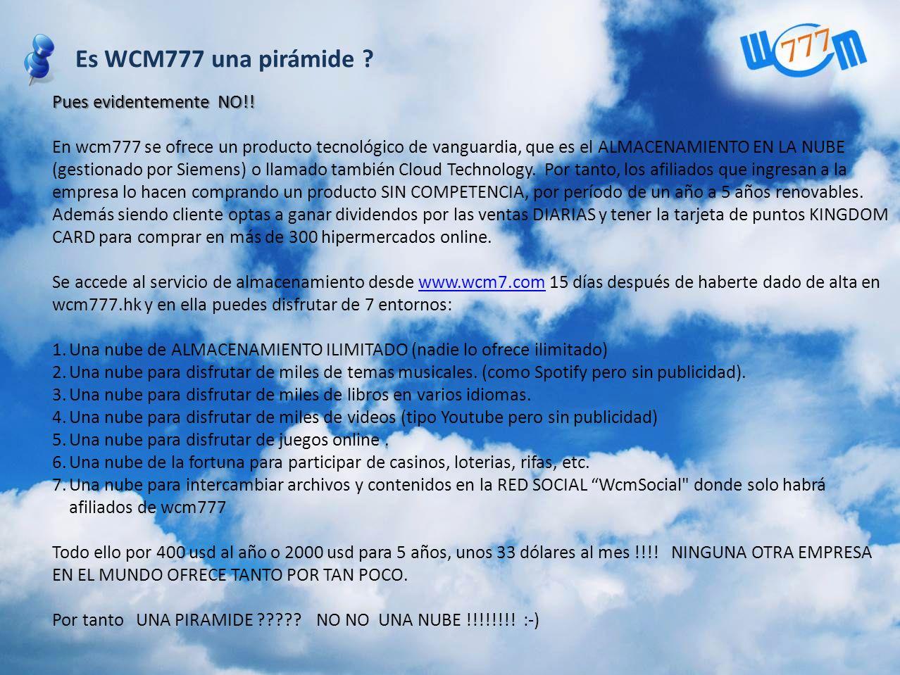 Es WCM777 una pirámide Pues evidentemente NO!!