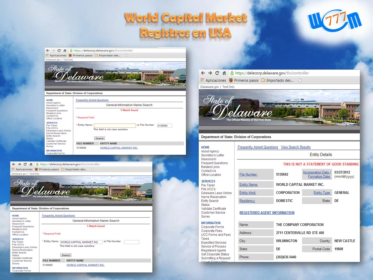 World Capital Market Registros en USA