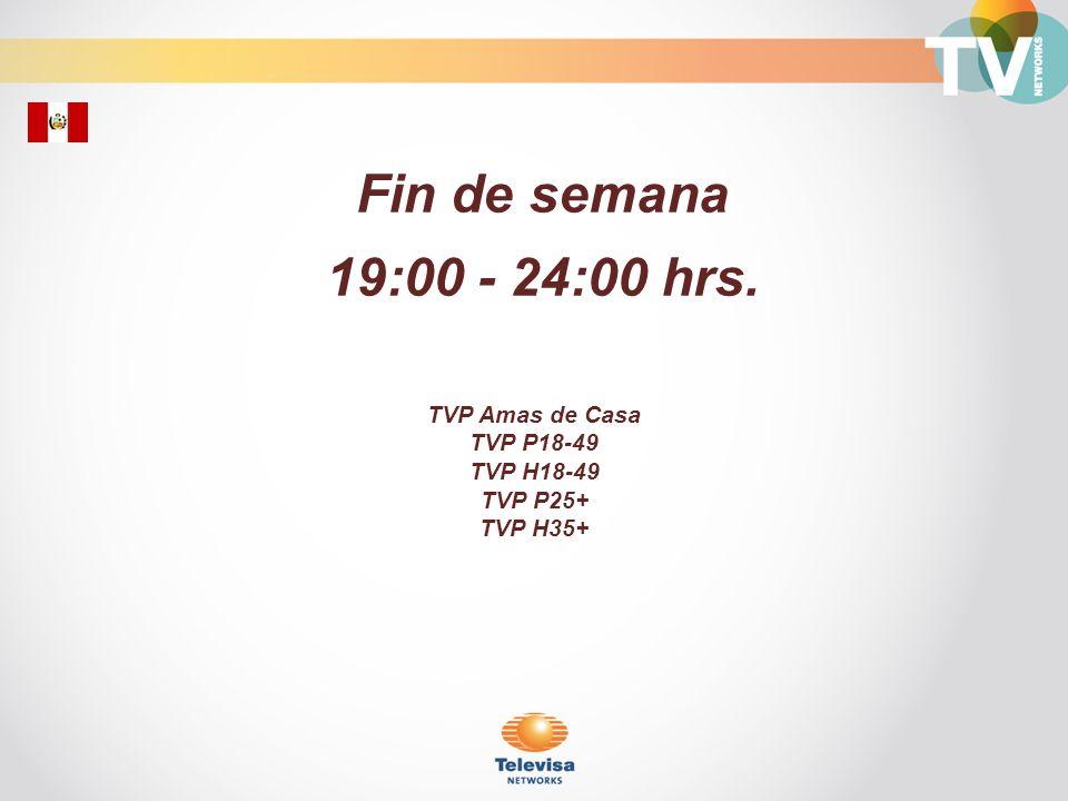 Fin de semana 19:00 - 24:00 hrs. TVP Amas de Casa TVP P18-49