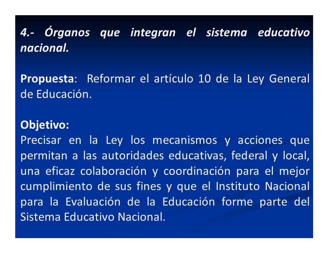 4.- Órganos que integran el sistema educativo nacional.