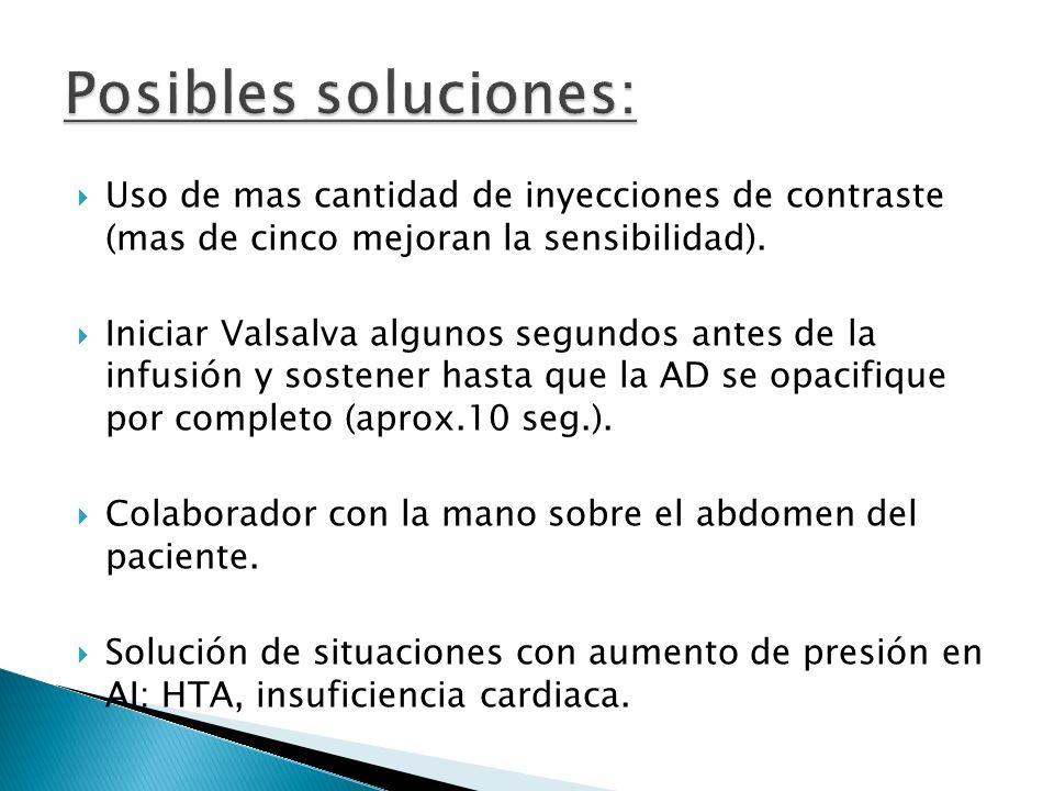 Posibles soluciones: Uso de mas cantidad de inyecciones de contraste (mas de cinco mejoran la sensibilidad).