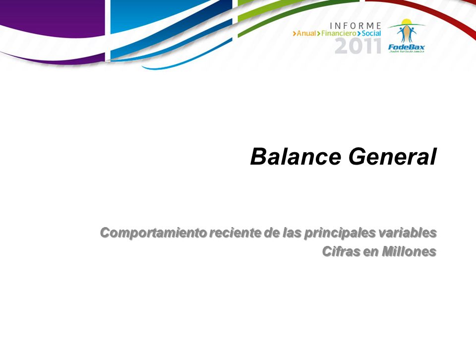 Balance General Comportamiento reciente de las principales variables
