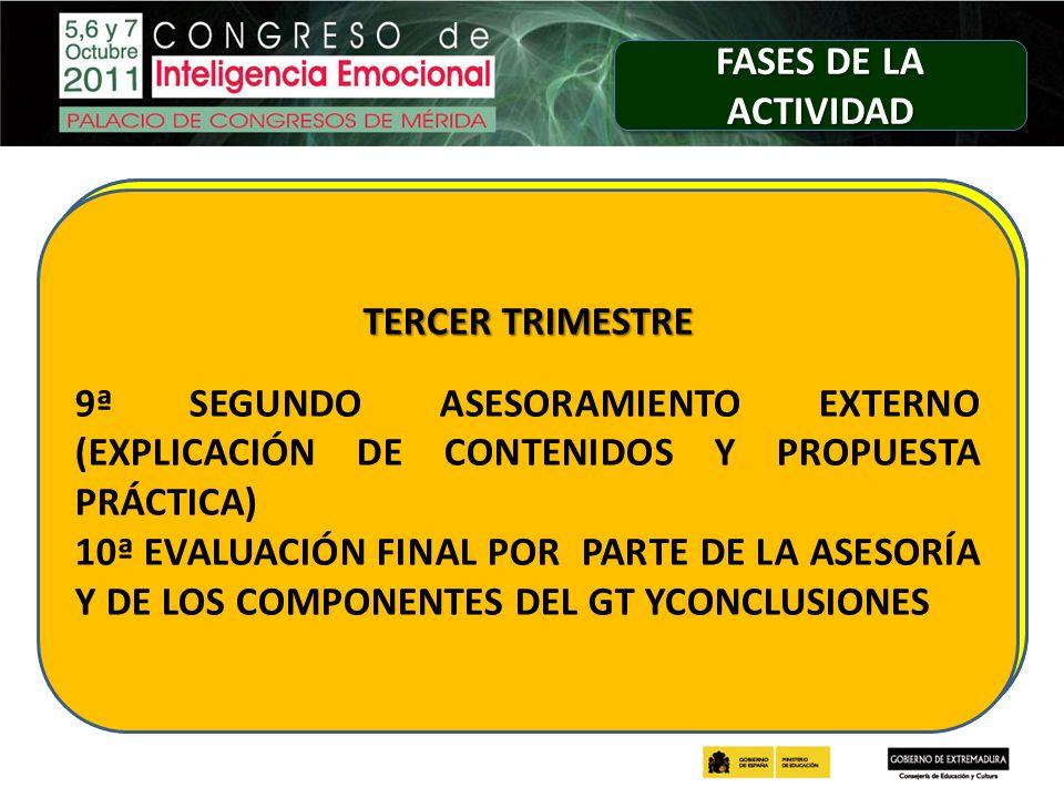 FASES DE LA ACTIVIDAD SEGUNDO TRIMESTRE. 6ª DIFUSIÓN DEL MATERIAL DE TRABAJO.