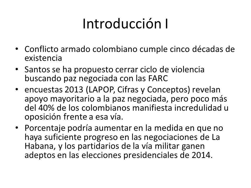 Introducción I Conflicto armado colombiano cumple cinco décadas de existencia.