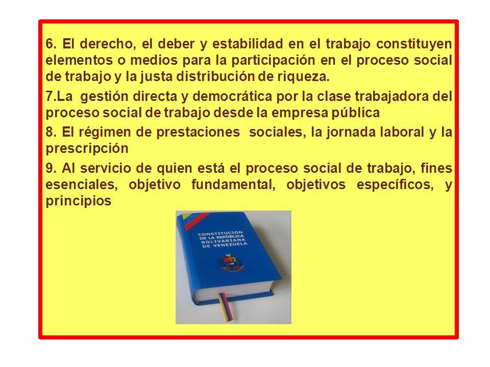 6. El derecho, el deber y estabilidad en el trabajo constituyen elementos o medios para la participación en el proceso social de trabajo y la justa distribución de riqueza.