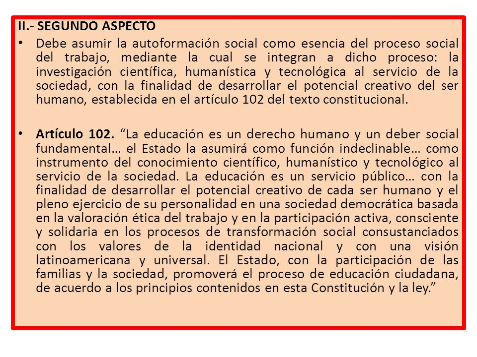 II.- SEGUNDO ASPECTO