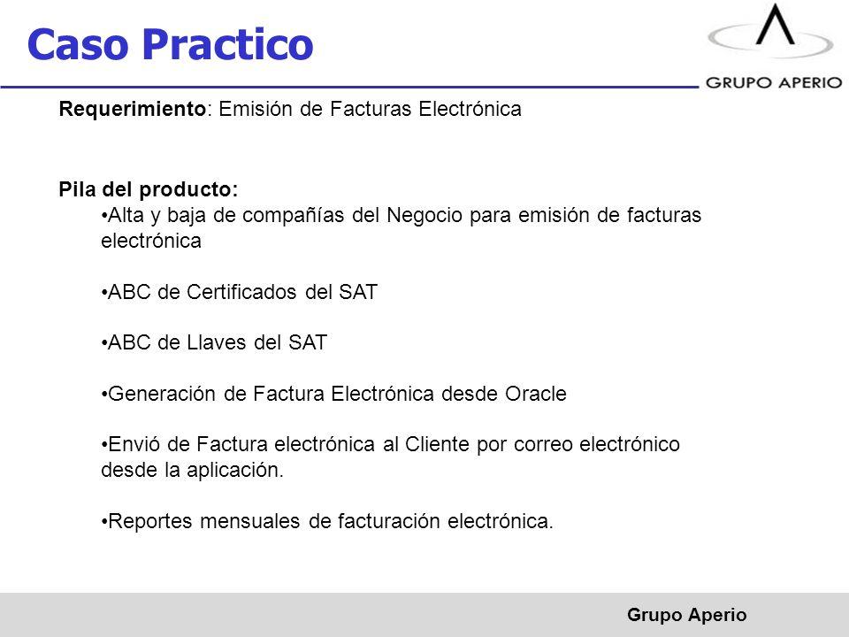 Caso Practico Requerimiento: Emisión de Facturas Electrónica