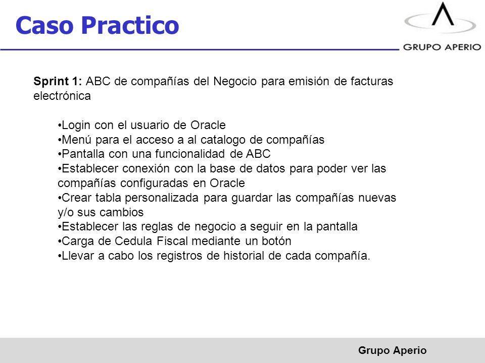 Caso Practico Sprint 1: ABC de compañías del Negocio para emisión de facturas electrónica. Login con el usuario de Oracle.