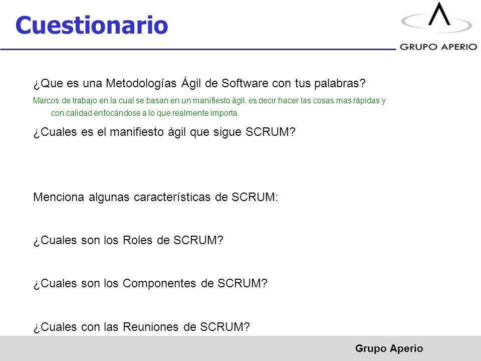 Cuestionario ¿Que es una Metodologías Ágil de Software con tus palabras