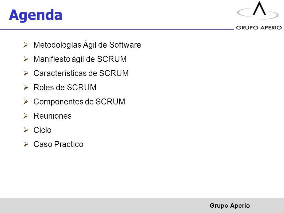 Agenda Metodologías Ágil de Software Manifiesto ágil de SCRUM