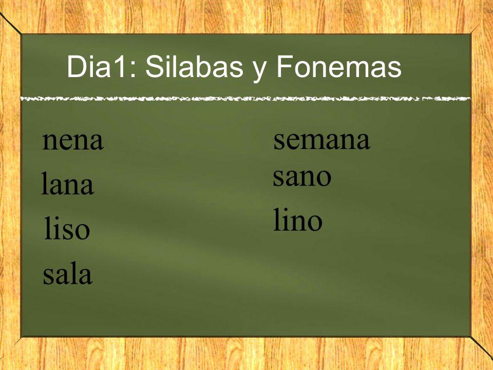 Dia1: Silabas y Fonemas nena semana sano lana lino liso sala