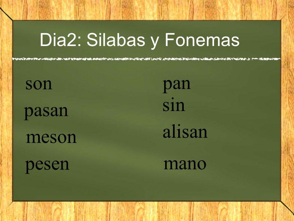Dia2: Silabas y Fonemas son pan sin pasan alisan meson pesen mano