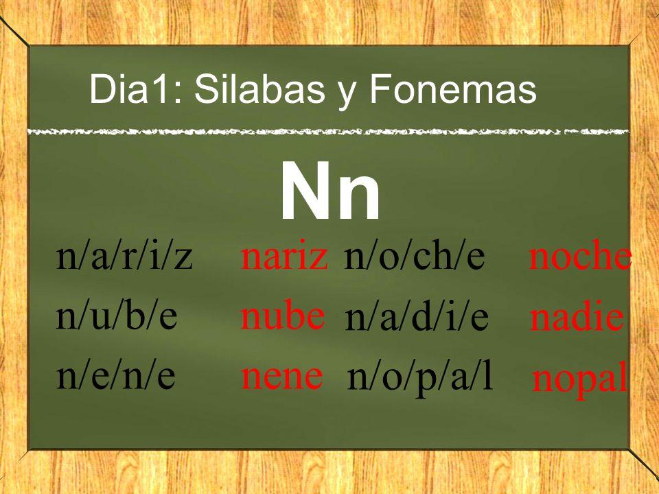 Nn n/a/r/i/z nariz n/o/ch/e noche n/u/b/e nube n/a/d/i/e nadie n/e/n/e