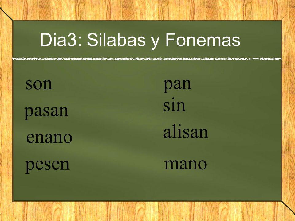 Dia3: Silabas y Fonemas son pan sin pasan alisan enano pesen mano