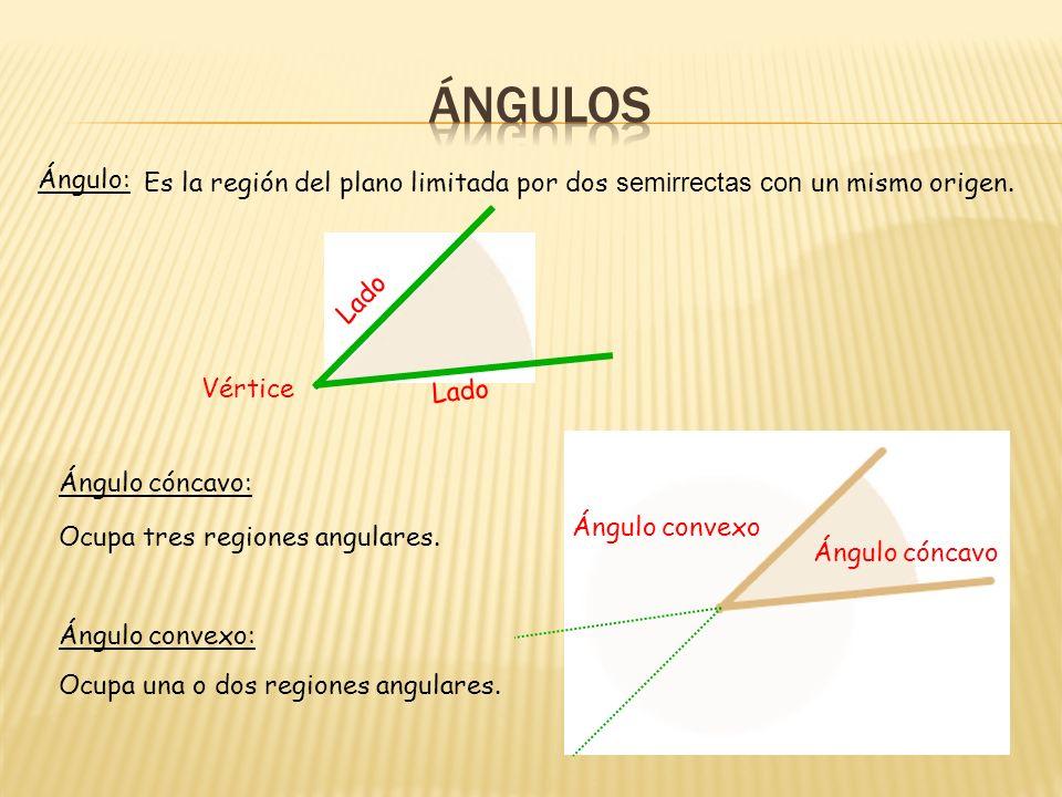 ÁNGULOS Ángulo: Es la región del plano limitada por dos semirrectas con un mismo origen. Lado. Vértice.