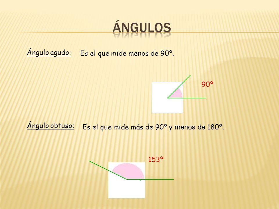 ÁNGULOS Ángulo agudo: Es el que mide menos de 90º. 90º Ángulo obtuso: